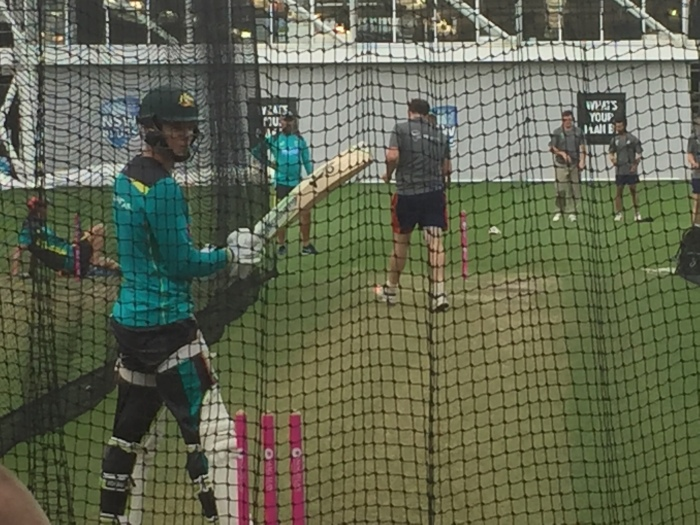 Tim Paine Australian captain for the Test Tour of UAE in October 2018. Batting at SCG Nets wearing skins compression tights to help prevent injury