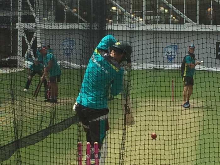 Tim Paine batting SCG nets. Australian Test Captain for October Tour of UAE Test Series with Pakistan