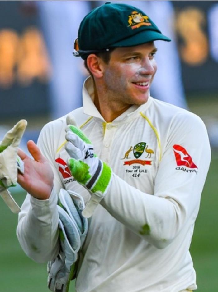 Tim Paine Australian Test Captain, 46th Australian captain, first from Hobart Tasmania. Wearing keeping pads, gloves, skin tights, Australian player 414. Baggy Green. Australia vs Pakistan 2018 in UAE